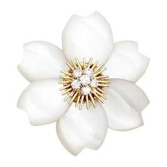 Van Cleef & Arpels Rose de Noel Medium Mother of Pearl Diamond Gold Clip