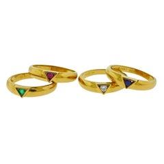 Van Cleef & Arpels Ruby Diamond Sapphire Emerald Gold Stackable Ring Set