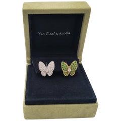 Van Cleef & Arpels Two Butterfly Gold Diamond and Tsavorite Earrings