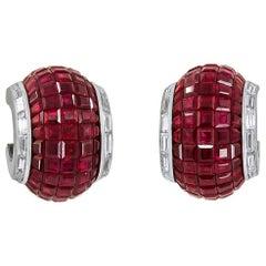 Van Cleef & Arpels Two-Tone Diamond Mystery-Set Ruby Earrings