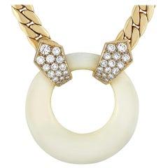 Van Cleef & Arpels Vintage 18k Gold 0.65 Carat Diamond and White Coral Necklace
