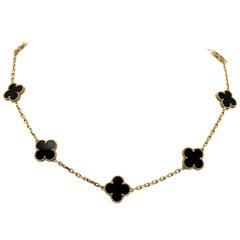 Van Cleef & Arpels Vintage Alhambra 10-Motif Onyx Necklace