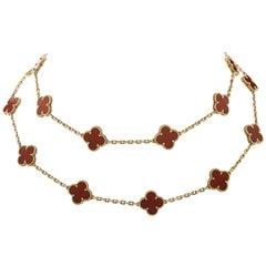 Van Cleef & Arpels Vintage Alhambra 20 Motif Long Carnelian Necklace
