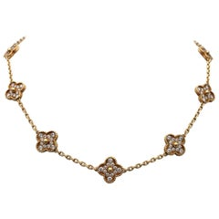 Van Cleef & Arpels 'Vintage Alhambra' Gold and Diamond 10-Motif Necklace