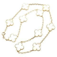 Van Cleef & Arpels Vintage Alhambra Mother of Pearl Ten Motif Gold Necklace