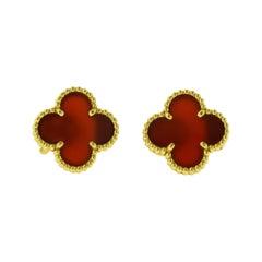Van Cleef & Arpels Vintage Alhambra Red Carnelian Gold Earring Studs