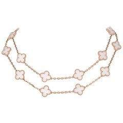 Van Cleef & Arpels Vintage Alhambra Rock Crystal 20 Motif Necklace