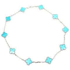 Van Cleef & Arpels Vintage Alhambra Turquoise 10 Motif White Gold Necklace