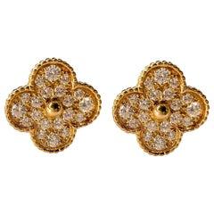 Van Cleef & Arpels Yellow Gold Magic Alhambra Clover Diamond Clip-On Earrings