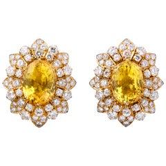 Van Cleef & Arpels Yellow Sapphire and Diamond Earrings
