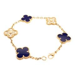 VCA 50th Anniversary Lapis Lazuli and Diamond 5 Motif Vintage Alhambra Bracelet