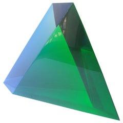 Velizar Mihich, Vasa Acrylic Decorative Triangle, Sculpture, Signed, Date