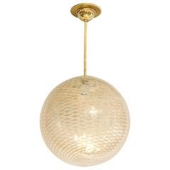 Venini 1930s Reticello Glass Globe Chandelier