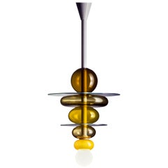 Venini Firenze Pendant Light in Brown and Yellow by Ettore Sottsass