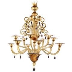 Venini Vittoriale 12-Light Chandelier in Amber Glass by Napoleone Martinuzzi