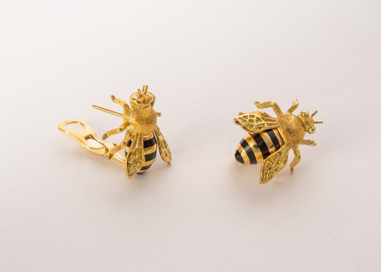 Verdura creates this whimsical pair of honeybee earrings based on an archival design from 1943. Just over 3/4's of an inch in length.