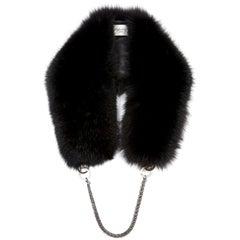 Verheyen London Chained Stole in Black Fox Fur & Chain - Brand New