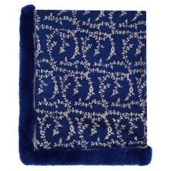 Verheyen London Embroidered Sapphire Blue Shawl & Blue Mink Fur - Brand New