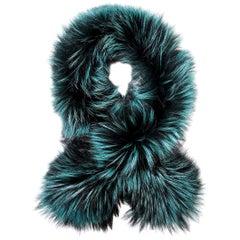 Verheyen London Lapel Cross-Through Collar in Emerald Green Fox Fur - Brand New