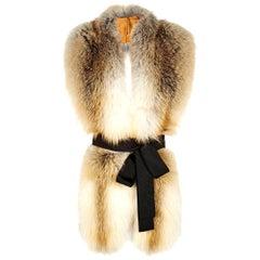 Verheyen London Legacy Stole Scarf Natural Golden Island Fox Fur - Brand New