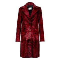Verheyen London Leopard Print Coat in Red Ruby Goat Hair Fur UK 10 - Brand New