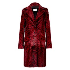 Verheyen London Leopard Print Coat in Red Ruby Goat Hair Fur UK 12 - Brand New