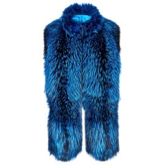 Verheyen London Nehru Collar Stole in Lapis Blue Fox Fur & Silk Lining -Gift