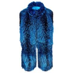Verheyen London Nehru Collar Stole in Lapis Blue Fox Fur & Silk Lining - New