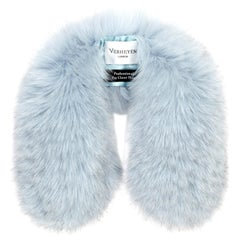 Verheyen London Peter Pan Collar in Iced Blue Fox Fur & lined in silk - New