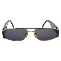 Versace Black & Gold Rectangular Sunglasses