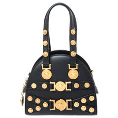 Versace Black Leather Small Tribute Medallion Bag