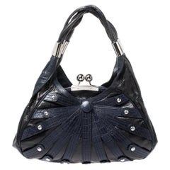 Versace Black/Navy Blue Leather Limited Edition Kiss Lock Satchel