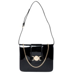 Versace Black Patent Leather Young Medusa Chain Shoulder Bag
