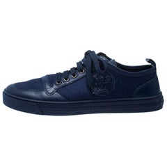 Versace Blue Canvas and Leather Medusa Head Low Top Sneakers Size 43.5