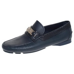 Versace Blue Leather Medusa Detail Slip On Loafers Size 41