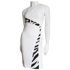 Versace Color Block One Shoulder Dress