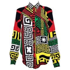 VERSACE geometric multi color greek pattern shirt