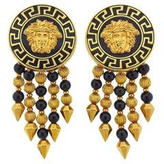 Versace Gold Onyx Medusa Drop Earrings