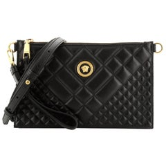 Versace Icon Flat Crossbody Bag Quilted Leather