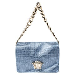 Versace Light Blue Crystal Embellished Shimmer Leather Sultan Shoulder Bag