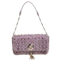 Versace Lilac Studded Leather Vanitas Flap Shoulder Bag