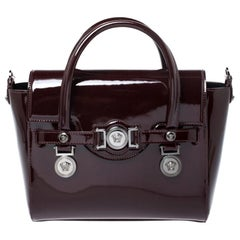 Versace Maroon Patent Leather Medusa Medallion Tote