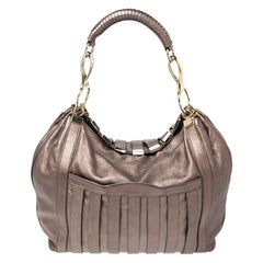 Versace Metallic Striped Leather Hobo