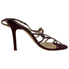 Versace Purple Satin Sandals Heels Shoes with Rhinestones Size 39