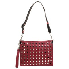 Versace Red Leather Studded Shoulder Bag