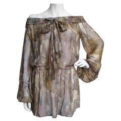 Versace Silk Cactus Print Off Shoulder Dress