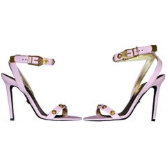 VERSACE TRIBUTE 2018 PINK LEATHER SANDALS w/GOLD MEDUSA STUDS 37.5, 38, 38.5