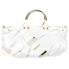 Versace White Canvas and Patent Leather Metal Handle Tote