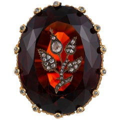 Victorian 50 Carat Garnet and Diamond Ring, Signed JE Caldwell