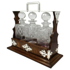 Victorian Cut Crystal Oak Framed Tantalus Decanter Silver Mounted, 19th Century